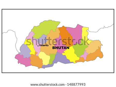 Administrative map of Bhutan