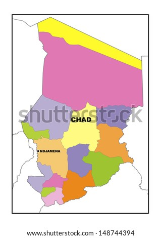 Administrative map of Chad - stock photo