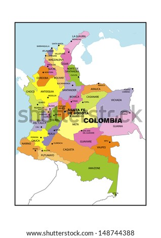 Administrative map of Colombia - stock photo