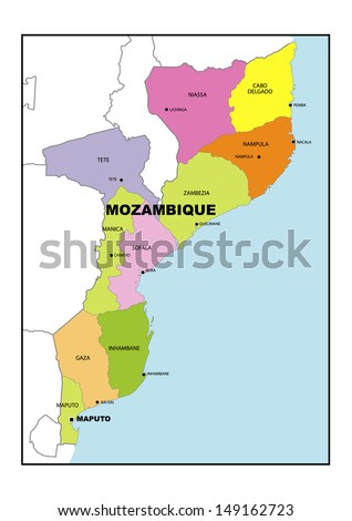 Administrative map of Mozambique