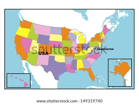 Administrative map of United States of America
