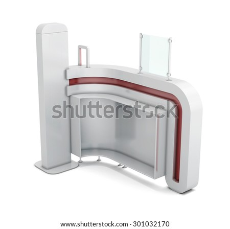 Administrative rack. Stand of reception of clients isolated on white background. 3d illustration. - stock photo