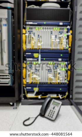 administrator networking service. ip phone for checking internet , fiber optic and information server room . call service - stock photo