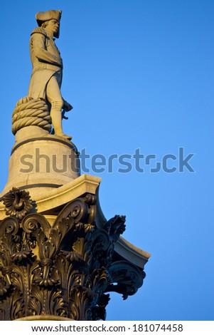 Admiral Nelson ontop of Nelson's Column in Trafalgar Square, London. - stock photo