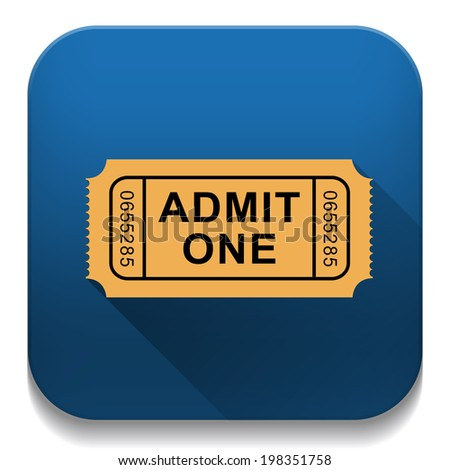 Admission Ticket With long shadow over app button - stock photo