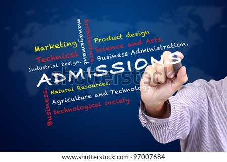 Admissions of Faculty in University and other related words written on white board - stock photo