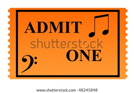 Admit one concert ticket ticket isolated on white background. - stock photo