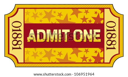admit one ticket - stock photo