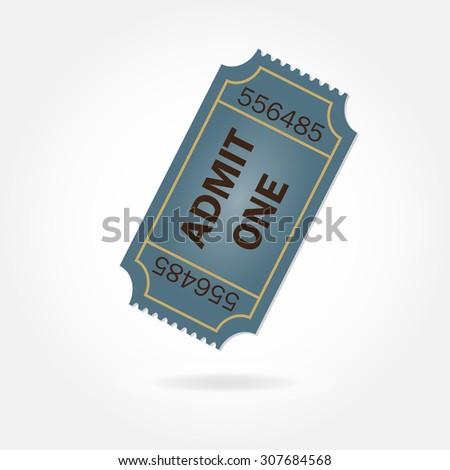 Admit one ticket on white background. Colorful illustration. - stock photo