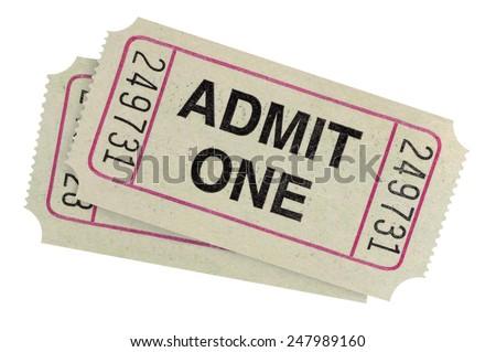 Admit one ticket : pair of movie tickets. - stock photo