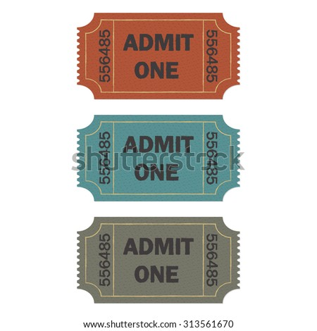 Admit one ticket set on white background. Colorful illustration of cinema or theater retro ticket. - stock photo