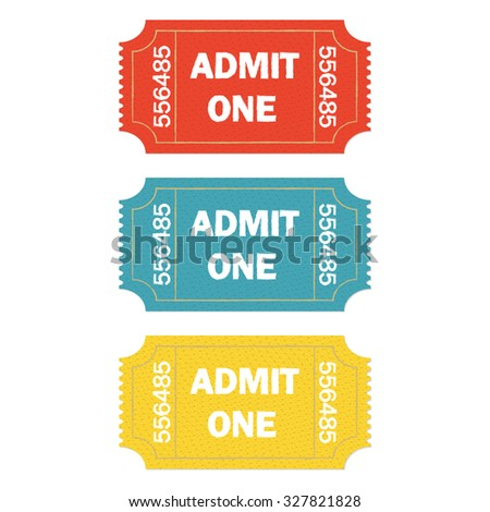 Admit one ticket set on white background. Colorful illustration of cinema or theater retro ticket.