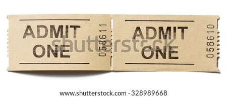 admit one tickets isolated on white - stock photo