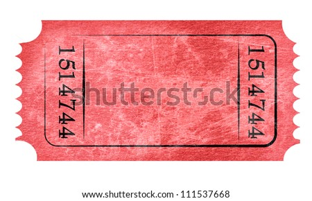 Admit ticket on a solid white background - stock photo