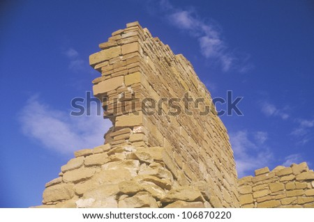 Adobe brick wall, circa 1060 AD, Chaco Canyon Indian ruins, The Center of Indian Civilization, NM - stock photo
