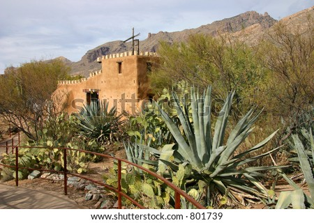Adobe Church in Tucson Arizona - stock photo