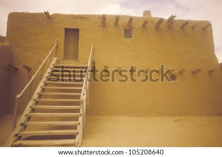 Adobe dwelling, San Ildefonso Pueblo, NM - stock photo