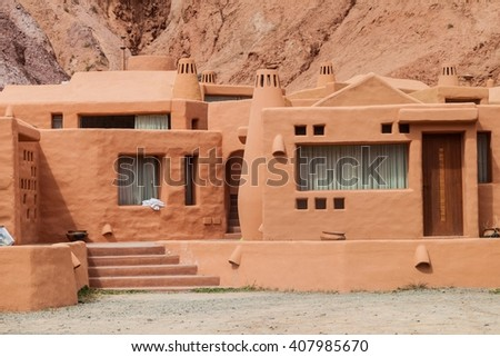 Adobe house in Purmamarca village (Quebrada de Humahuaca valley), Argentina