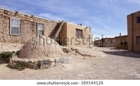 Adobe houses and outdoor oven at Acoma pueblo, Sky City, New Mexico, USA - stock photo