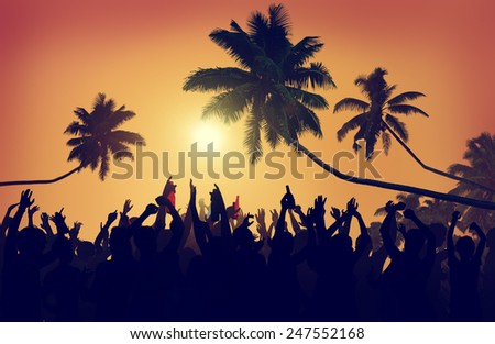 Adolescence Summer Beach Party Outdoors Community Estatic Concept - stock photo
