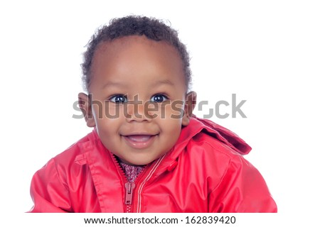 Adorable african baby smiling isolated on a white background - stock photo