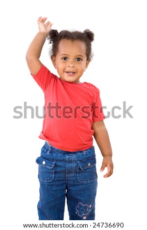 Adorable african baby stand isolated over white