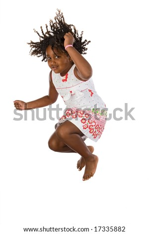 Adorable african girl jumping a over white background - stock photo