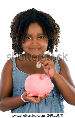 Adorable african girl with moneybox savings isolated over white