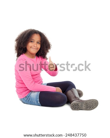 Adorable african little girl saying Ok isolated on white background - stock photo