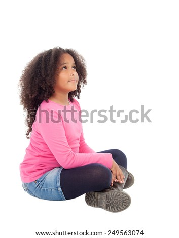 Adorable african little girl sitting on the floor isolated on white background - stock photo
