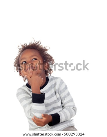 Adorable afroamerican child with three years thinking isolated on a white background