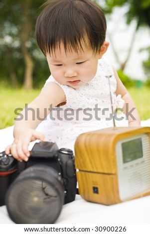 adorable and cute asian baby girl outdoor
