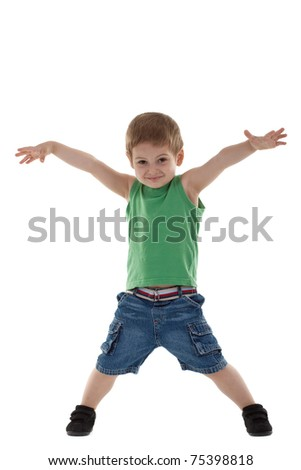 Adorable and happy little boy with hands in air. isolated on white background - stock photo