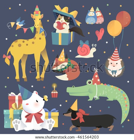 Adorable animals set - cheerful birthday celebration party