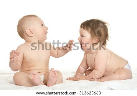 Adorable babies  on blanket on a white background