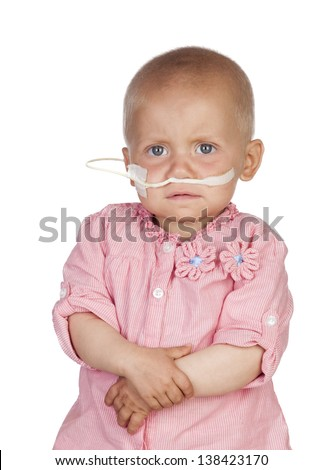 Adorable baby beating the disease isolated on white background - stock photo