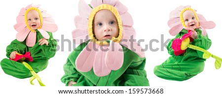 Adorable baby boy, dressed in flower costume on white background  The concept of childhood and holiday - stock photo