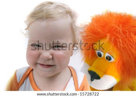 Adorable baby boy making face, isolated - stock photo