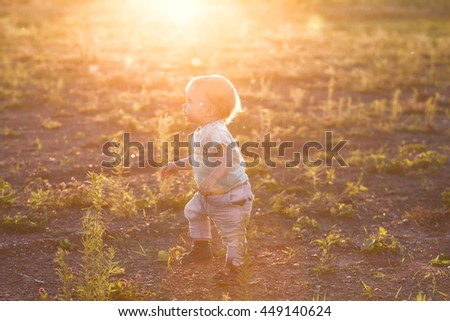 Adorable baby boy walking in an summer field at sunset. Little caucasian kid makes his first steps outdoors at evening with afterglow. Happy child concept