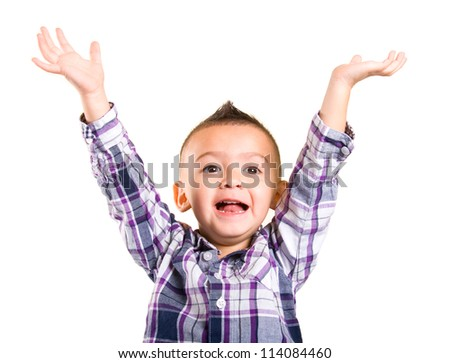 adorable baby boy with his hands up - stock photo