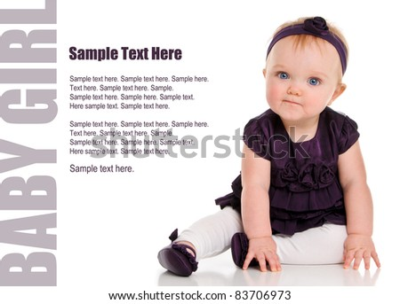 Adorable Baby Girl in purple dress with Text Space to the left - stock photo