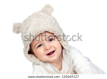 Adorable baby girl with a funny bear hat isolated on white background