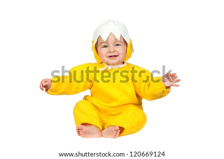 Adorable baby girl with chicken costume isolated on white background - stock photo