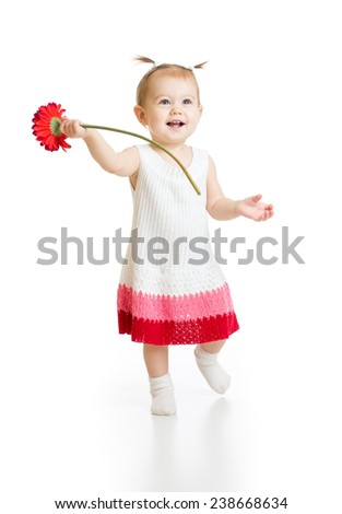 Adorable baby girl with flower isolated - stock photo