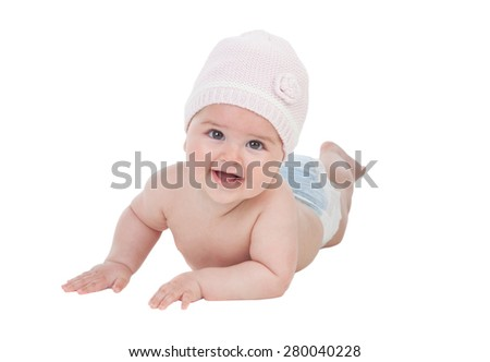 Adorable baby girl with wool hat isolated on a white backgrou d - stock photo