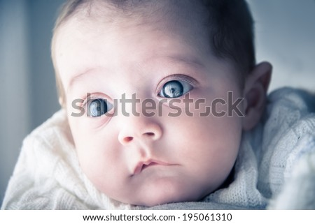 Adorable baby looking - stock photo
