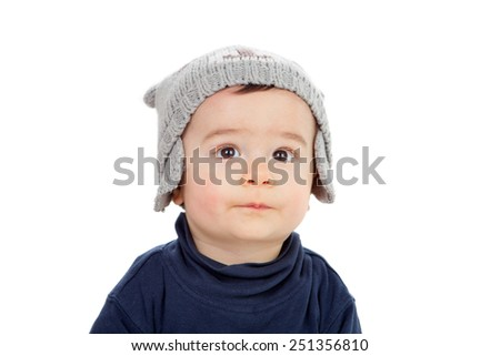 Adorable baby looking up isolated on a white background - stock photo
