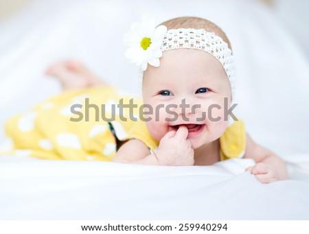 Adorable baby 5 months, close-up portrait - stock photo