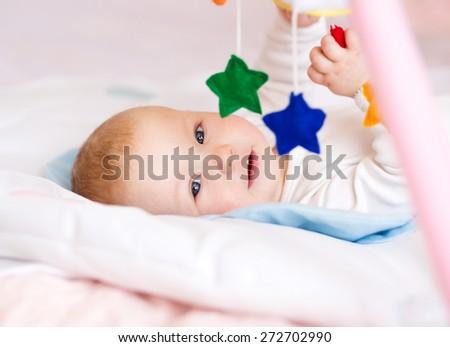 Adorable baby 6 months, close-up portrait - stock photo