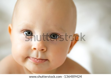 adorable baby waiting new tooth.saliva or slabber near mouth - stock photo